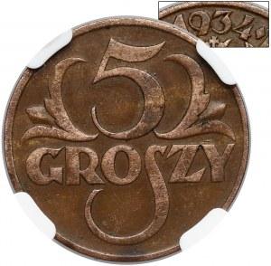 5 groszy 1934 - rzadkie - NGC XF40 BN