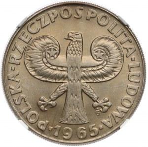 10 złotych 1965 Duża Kolumna - NGC MS66