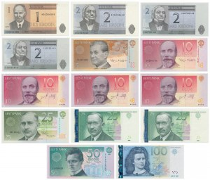 Estonia, od 1 do 100 kroon 1992-2007 - zestaw (14szt)