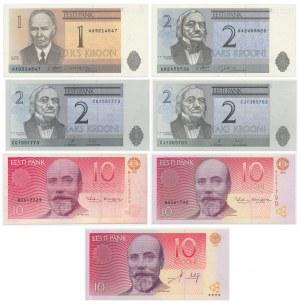 Estonia, 1, 2, 10 kroon 1992-2007 - zestaw (7szt)