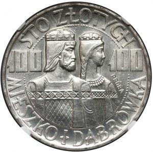Próba SREBRO 100 złotych 1966 Mieszko... półpostacie - NGC MS65
