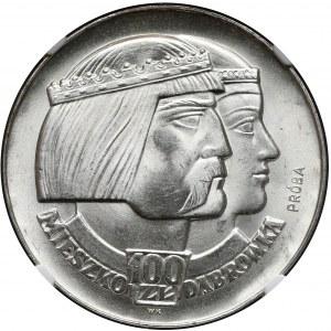 Próba SREBRO 100 złotych 1966 Mieszko... głowy - NGC MS65 (MAX)