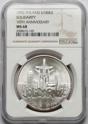 100.000 złotych 1990 Solidarność - odm.A - NGC MS68