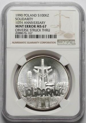 100.000 złotych 1990 Solidarność - odm.A - NGC mint error MS67