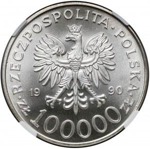 100.000 złotych 1990 Solidarność - odm.A - NGC MS69 (Max)