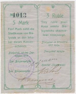 Ex. Siedlecki, Białystok, 5 Mk = 3 rub 1915