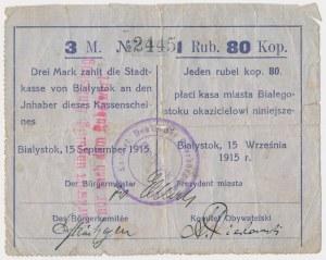 Ex. Siedlecki, Białystok, 3 Mk = 1 rub 80 kop 1915