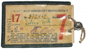 Bilet miesięczny - jednoliniowy, Lipiec 1944, Warszawa