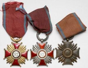 Krzyże Zasługi 1946-1952 w trzech klasach (3szt.)