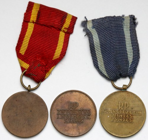 Medal KRN, Za Warszawę i Za Odrę w rzadkich wersjach (3szt)