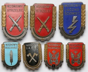 LWP Odznaki Tytułów honorowych WZOROWY... duże i małe (7szt)