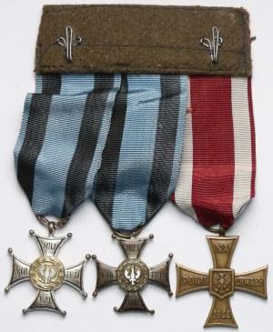 Zespół 2 orderów Virtuti Militari oraz Krzyża Walecznych