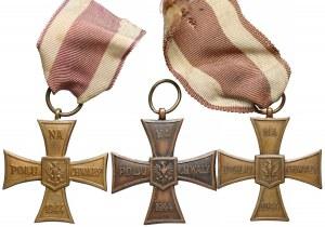 Krzyż Walecznych PRL - zestaw (3szt)