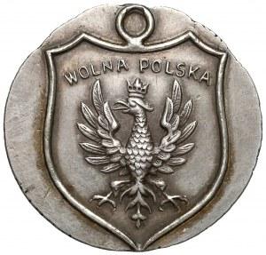 Znaczek patriotyczny WOLNA POLSKA - odbitka próbna na monecie 50 kopiejek