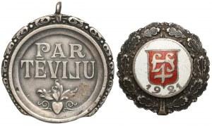 Łotwa, Odznaka Honorowa Orderu Trzech Gwiazd II klasy i Odznaka 1921 (2szt)