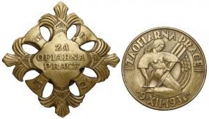 Odznaki honorowe ZA OFIARNĄ PRACĘ 1921 i 1931 (2szt)