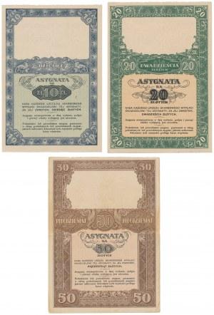 Asygnata Ministerstwa Skarbu (1939) - 10, 20 i 50 zł (3szt)