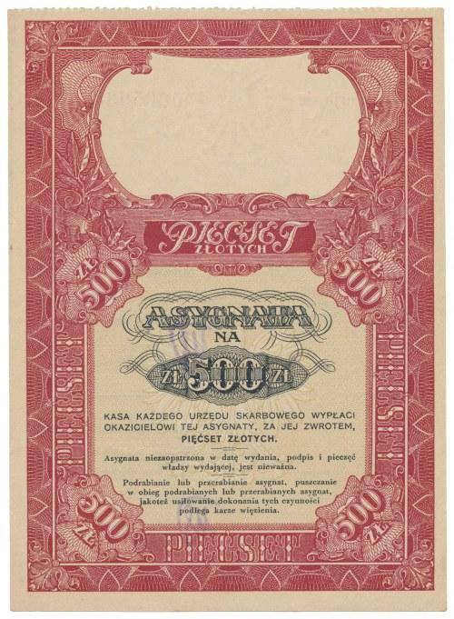 Asygnata Ministerstwa Skarbu (1939) - 500 zł