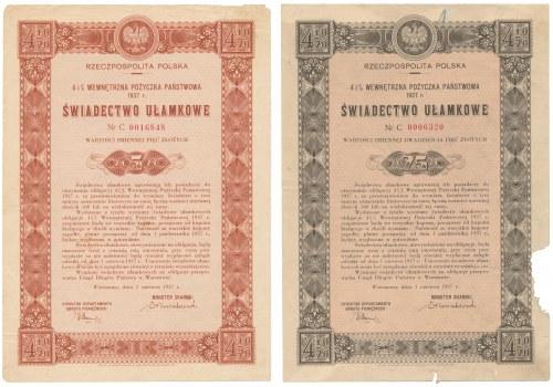 4.5% Pożyczka Wewnętrzna 1937, Świadectwo ułamkowe 5 i 25 złotych (2szt)