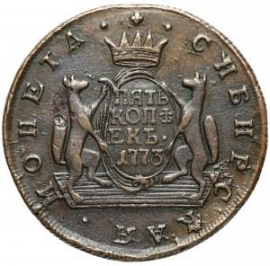 Rosja, Syberia, Katarzyna II, 5 kopiejek 1773 KM