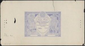 Próba druku awersu 50 złotych 1925