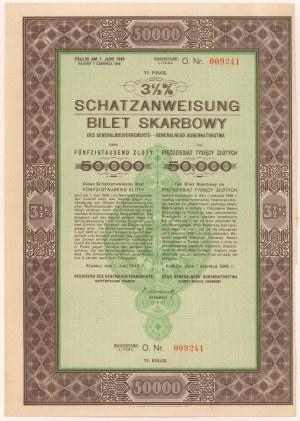 Okupacja, Bilet Skarbowy Em.6 litera O 50.000 zł 1942