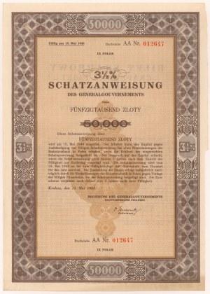 Okupacja, Bilet Skarbowy Em.9 litera AA 50.000 zł 1943