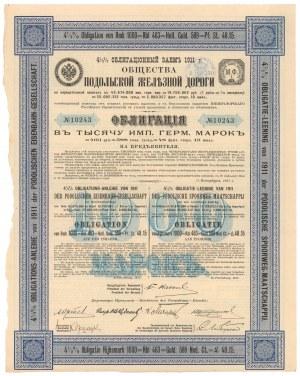 T-wo Podolskiej Żelaznej Drogi, Obligacja 1.000 mk / 463 rub 1911