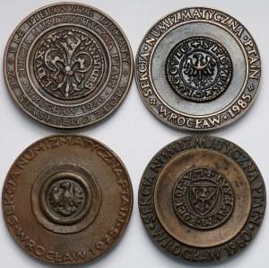 Medal Wrocław PTAiN 1975-1986, zestaw (4 szt)