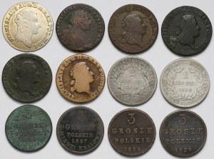 Poniatowski i zabory, zestaw monet z lat 1766-1830 (12szt)