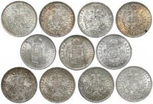 Austro-Węgry ZESTAW Floreny (forinty) 1861-1889 - ładne stany, (11szt)