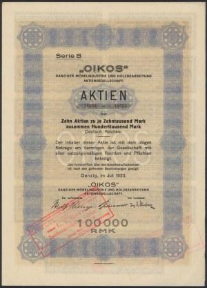 Gdańsk OIKOS, 10x 10.000 rmk 1923