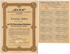 Gdańsk Oliwa, OLKA Schokoladen-Werke..., 20x 25 gulden 1924
