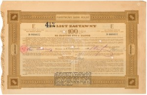 Państwowy Bank Rolny, List zastawny 7% na 4.5% 100 zł 1929