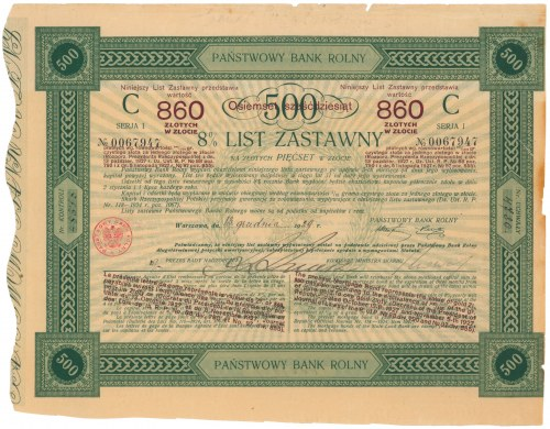 Państwowy Bank Rolny, 8% List zastawny 500 zł 1929