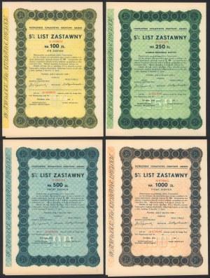 Piotrków, TKM, Listy zastawne 1938 - zestaw (4szt)