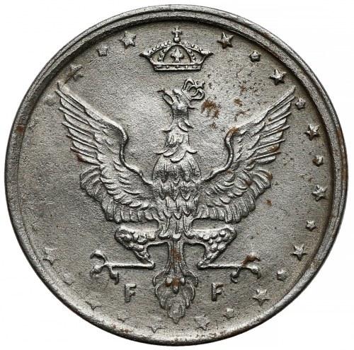 DESTRUKT Królestwo Polskie, 10 fenigów 1917 NBO - ex. Franquinet - EFEKTOWNY