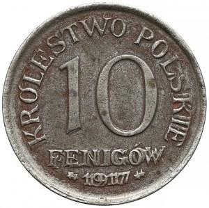 DESTRUKT Królestwo Polskie, 10 fenigów 1917 - mocne zdwojenie daty