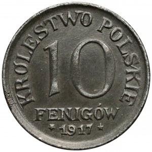 DESTRUKT Królestwo Polskie, 10 fenigów 1917 - zdwojenie awersu