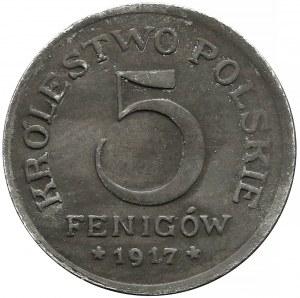 DESTRUKT Królestwo Polskie, 5 fenigów 1917 - PODWÓJNY orzeł