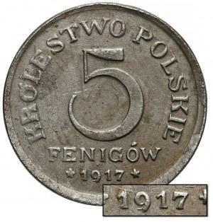 DESTRUKT Królestwo Polskie, 5 fenigów 1917 - otwarta 9 - rzadkie