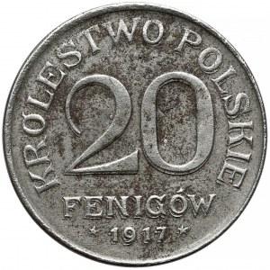 DESTRUKT Królestwo Polskie, 20 fenigów 1917 - zdwojenie na Rw.