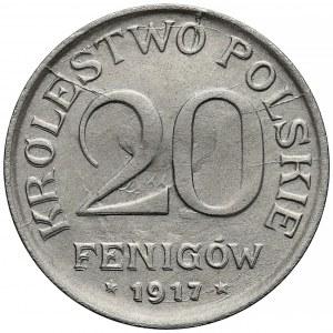 DESTRUKT Królestwo Polskie, 20 fenigów 1917 - zdwojenie + duch