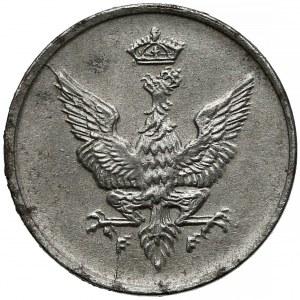 DESTRUKT Królestwo Polskie, 1 fenig 1918 - zdwojenia awersu