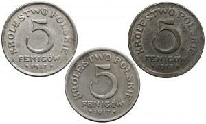 DESTRUKT Królestwo Polskie, 5 fenigów 1917 - zestaw (3szt)
