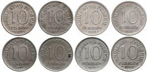 DESTRUKT Królestwo Polskie, 10 fenigów 1917-1918, zestaw (8szt)