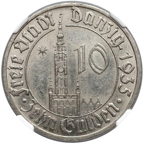 Wolne Miasto Gdańsk, 10 guldenów 1935 - NGC MS62