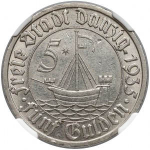 Wolne Miasto Gdańsk, 5 guldenów 1935 Koga - NGC AU58