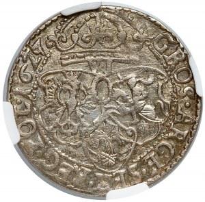 Zygmunt III Waza, Szóstak Kraków 1627 - b. ładny - NGC AU58