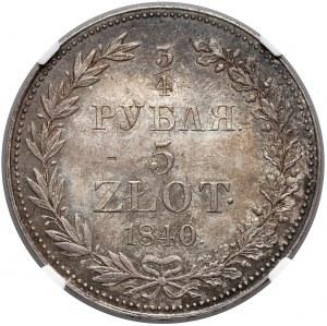 3/4 rubla = 5 złotych 1840 MW, Warszawa - NGC UNC